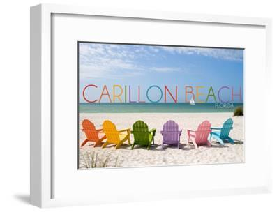 Carillon Beach, Florida - Colorful Beach Chairs-Lantern Press-Framed Art Print