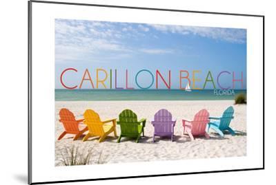 Carillon Beach, Florida - Colorful Beach Chairs-Lantern Press-Mounted Art Print