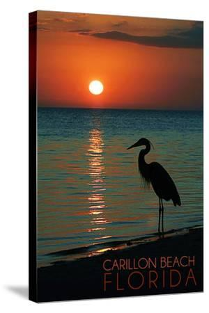 Carillon Beach, Florida - Heron and Sunset-Lantern Press-Stretched Canvas Print