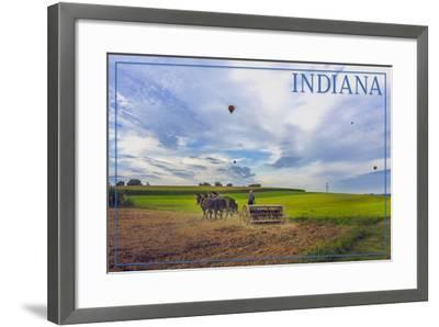 Indiana - Amish Farmer and Hot Air Balloons-Lantern Press-Framed Art Print
