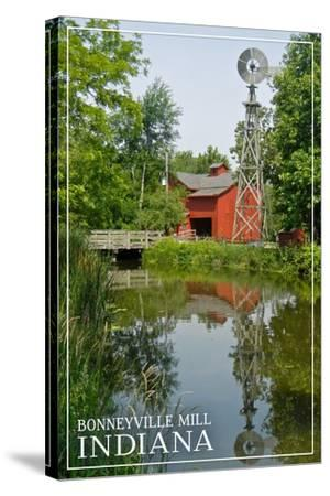 Indiana - Bonneyville Mill-Lantern Press-Stretched Canvas Print