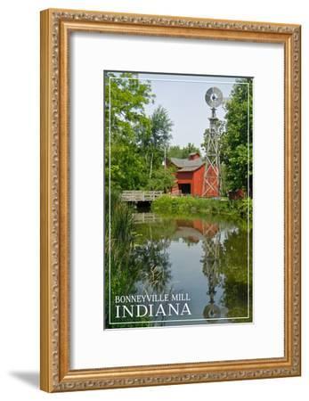 Indiana - Bonneyville Mill-Lantern Press-Framed Art Print