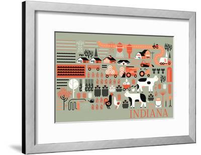 Indiana - Farm Folk Art-Lantern Press-Framed Art Print