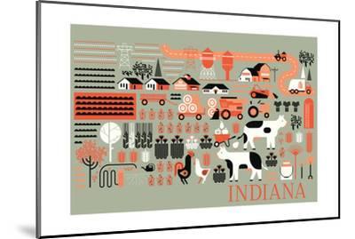 Indiana - Farm Folk Art-Lantern Press-Mounted Art Print