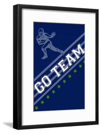 Monogram - Game Day - Blue and Green - Go Team-Lantern Press-Framed Art Print