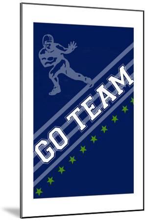 Monogram - Game Day - Blue and Green - Go Team-Lantern Press-Mounted Art Print