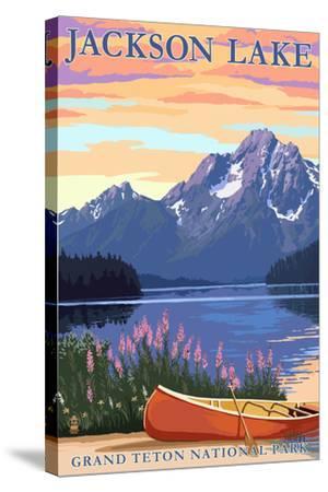 Grand Teton National Park - Jackson Lake-Lantern Press-Stretched Canvas Print