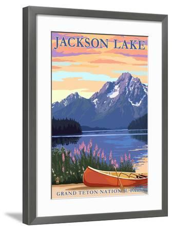 Grand Teton National Park - Jackson Lake-Lantern Press-Framed Art Print