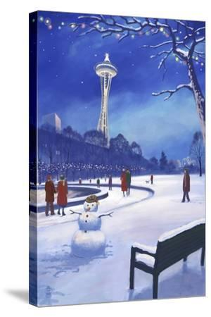 Space Needle in Snow, Seattle, WA-Lantern Press-Stretched Canvas Print