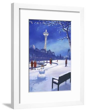 Space Needle in Snow, Seattle, WA-Lantern Press-Framed Art Print