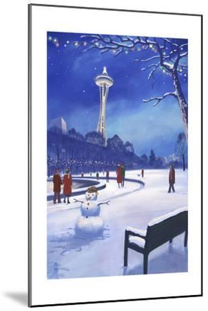 Space Needle in Snow, Seattle, WA-Lantern Press-Mounted Art Print