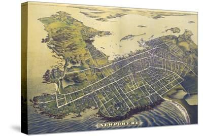 Newport, Rhode Island - Panoramic Map (#2)-Lantern Press-Stretched Canvas Print
