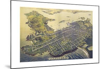 Newport, Rhode Island - Panoramic Map (#2)-Lantern Press-Mounted Art Print