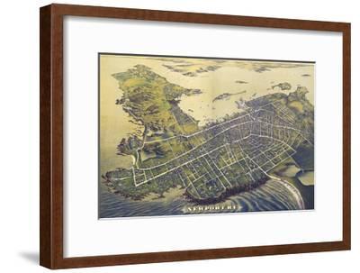 Newport, Rhode Island - Panoramic Map (#2)-Lantern Press-Framed Art Print