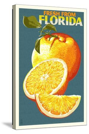 Florida - Fresh Oranges - Letterpress-Lantern Press-Stretched Canvas Print