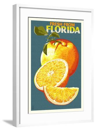 Florida - Fresh Oranges - Letterpress-Lantern Press-Framed Art Print