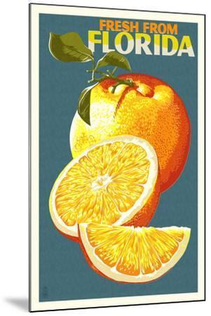 Florida - Fresh Oranges - Letterpress-Lantern Press-Mounted Art Print