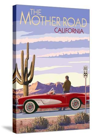 Pasadena, California - Route 66 - Corvette-Lantern Press-Stretched Canvas Print