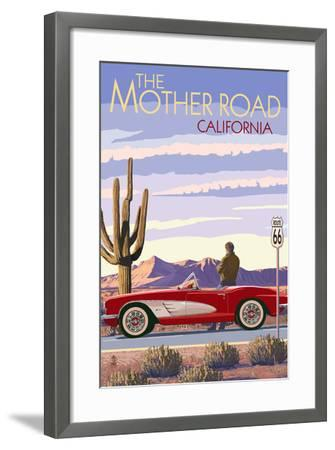 Pasadena, California - Route 66 - Corvette-Lantern Press-Framed Art Print