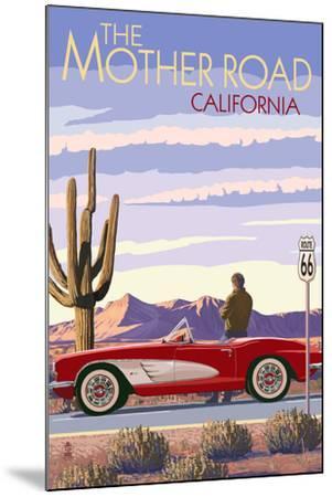Pasadena, California - Route 66 - Corvette-Lantern Press-Mounted Art Print