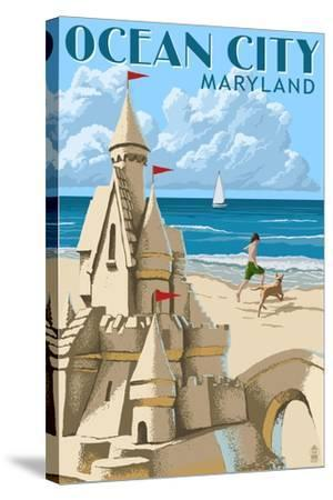 Ocean City, Maryland - Sand Castle-Lantern Press-Stretched Canvas Print