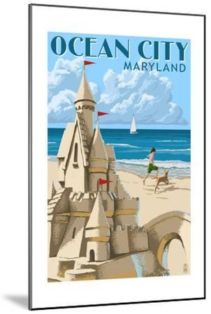 Ocean City, Maryland - Sand Castle-Lantern Press-Mounted Art Print