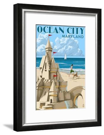 Ocean City, Maryland - Sand Castle-Lantern Press-Framed Art Print