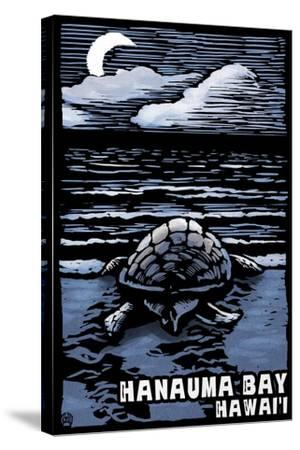 Hanauma Bay, Hawai'i - Sea Turtle - Scratchboard-Lantern Press-Stretched Canvas Print
