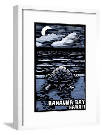 Hanauma Bay, Hawai'i - Sea Turtle - Scratchboard-Lantern Press-Framed Art Print