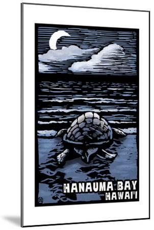 Hanauma Bay, Hawai'i - Sea Turtle - Scratchboard-Lantern Press-Mounted Art Print