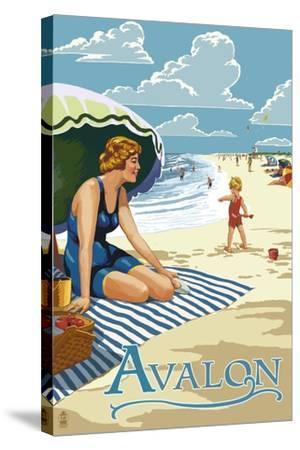 Avalon, New Jersey - Woman on Beach-Lantern Press-Stretched Canvas Print