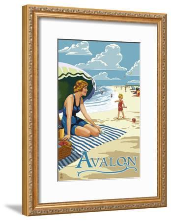 Avalon, New Jersey - Woman on Beach-Lantern Press-Framed Art Print