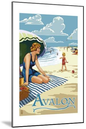 Avalon, New Jersey - Woman on Beach-Lantern Press-Mounted Art Print