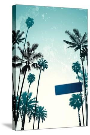 Street Sign and Palms-Lantern Press-Stretched Canvas Print