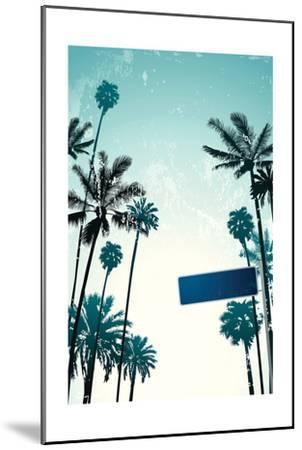 Street Sign and Palms-Lantern Press-Mounted Art Print