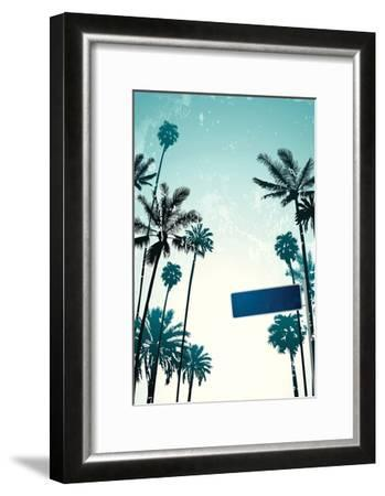 Street Sign and Palms-Lantern Press-Framed Art Print