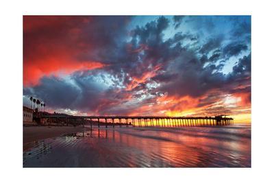 Pier and Sunset-Lantern Press-Framed Art Print
