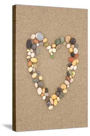 Stone Heart on Sand-Lantern Press-Stretched Canvas Print