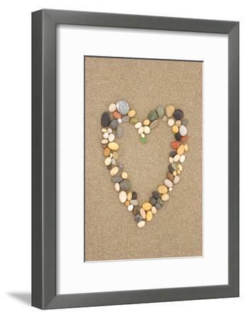 Stone Heart on Sand-Lantern Press-Framed Art Print