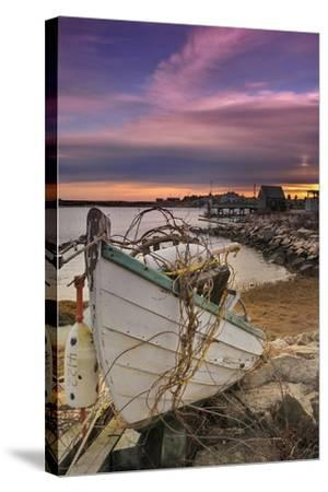 Fishing Boat on Shore-Lantern Press-Stretched Canvas Print
