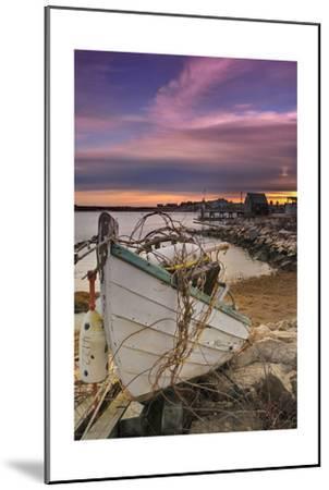 Fishing Boat on Shore-Lantern Press-Mounted Art Print