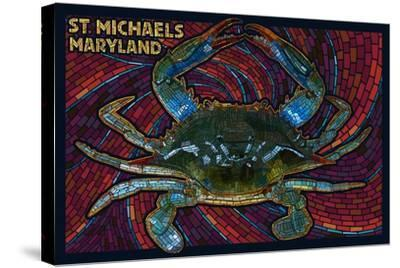St. Michaels, Maryland - Blue Crab Paper Mosaic-Lantern Press-Stretched Canvas Print