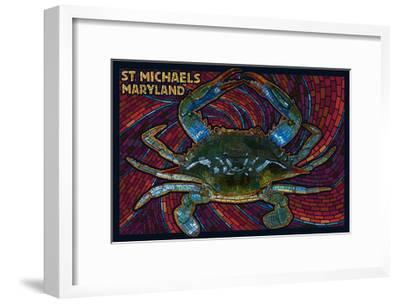 St. Michaels, Maryland - Blue Crab Paper Mosaic-Lantern Press-Framed Art Print