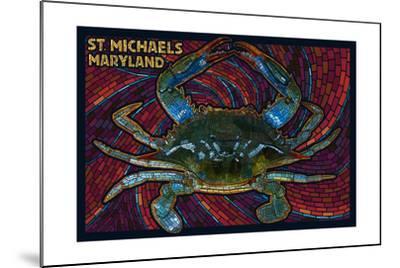 St. Michaels, Maryland - Blue Crab Paper Mosaic-Lantern Press-Mounted Art Print