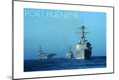 Port Hueneme, California - USS Stockdale and USS Gary-Lantern Press-Mounted Art Print