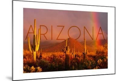 Arizona - Cactus and Rainbow-Lantern Press-Mounted Art Print
