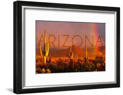 Arizona - Cactus and Rainbow-Lantern Press-Framed Art Print