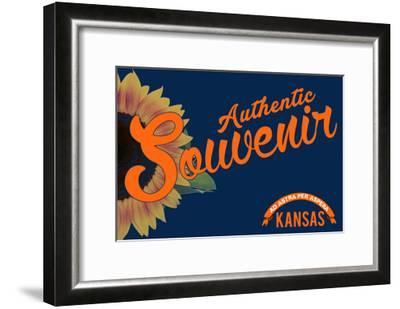 Visited Kansas - Authentic Souvenir-Lantern Press-Framed Art Print