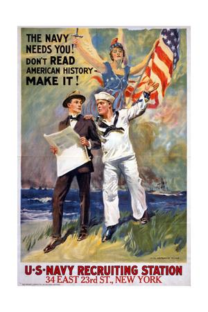 US Navy Vintage Poster - the Navy Needs You-Lantern Press-Stretched Canvas Print