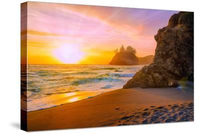 Beach at Sunset-Lantern Press-Stretched Canvas Print
